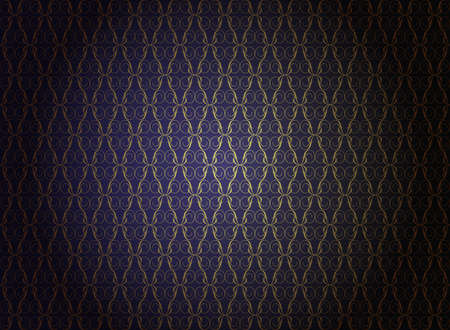 Vintage Wallpaper - Golden Ornaments on Dark Blue Background Иллюстрация
