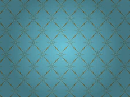 Vintage Wallpaper - Golden Ornaments on Blue Background Stock Vector - 9904121