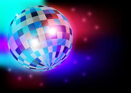 flyer background: Gloeien Retro Disco bal in nachtclub op donkere achtergrond