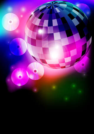 Glowing Retro Disco Ball in Night Club on Dark Background