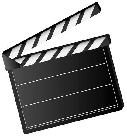 Illustration of movie clapper board isolated on white background