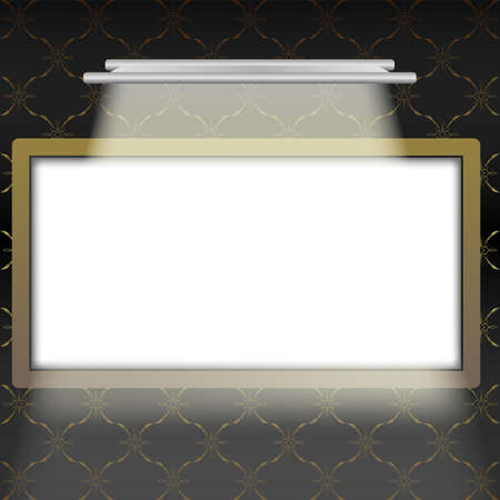 picture frame on wall: Illustration of Empty Illuminated Picture Frame in Interior