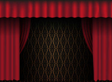 Red Theatre Curtain - Vintage Wallpaper in Background Stock Vector - 9904128