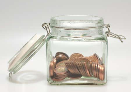 czech republic coin: Open Glass Jar Full of Czech Coins