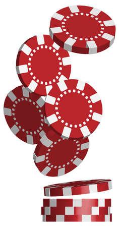 jetons poker: Illustration de tomber rouge Poker Chips isol� sur fond blanc