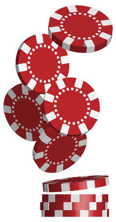 betting: Illustration of Falling Red Poker Chips Isolated on White