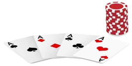 cartas de poker: Jugando cartas - cuatro ases y fichas de Poker sobre fondo blanco