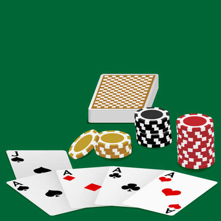 Playing Cards - Four Aces and Poker Chips On Green Table Vector