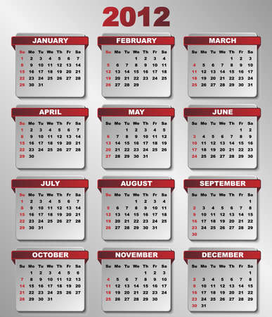 Calendar in Dark Red and Grey Colors Vector