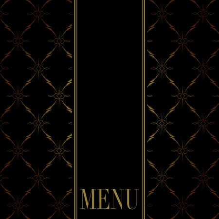 bar menu: Vintage Menu Card Design - Golden Ornaments on Black Background Illustration