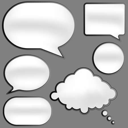 globo: Brillante discurso burbujas en tonos de gris sobre fondo blanco
