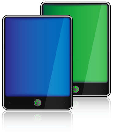 fictitious: Fictitious Touchscreen PC Tablets on White Background Illustration