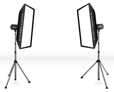 Iluminación fotográfica - dos luces de estudio profesional con cuadros suaves sobre trípodes sobre fondo blanco
