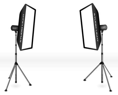 photo equipment: Photographic LIghting - Two Professional Studio Lights with Soft Boxes on Tripods on White Background Illustration