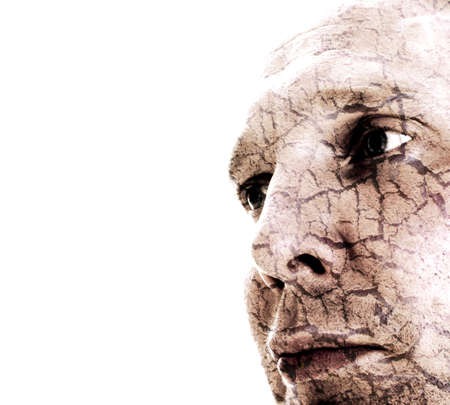 desertification: Portrait of Man With Cracked Skin on White Background