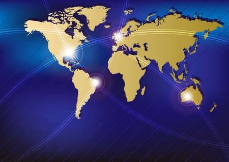 optical fiber: Technology Background - Golden World Map With Glowing Fibers Illustration