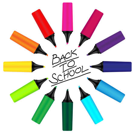 Back to School Sign - Drawn with Color Markers Stock Vector - 10199966