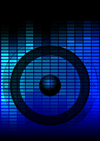 Music Party Background - Loudspeaker and Blue Equalizer on Dark Background Stock Vector - 10199971