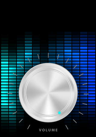 volume knob: Music Party Background - Amplifier Volume Knob and Blue Equalizer on Dark Background