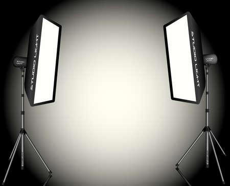 할로겐: 사진 조명 - 흰색 배경에 삼각대에 부드러운 상자 두 전문 스튜디오 조명