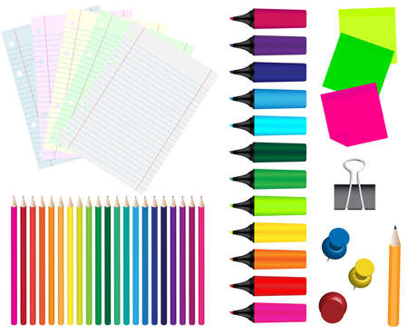 Stationery - Papers, Crayons, Markers, Pushpins, Clip, Pencil and Memo Sticks Vector