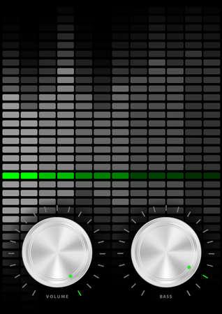 ruidoso: M�sica parte fondo - volumen de amplificador y pomos bajos y ecualizador gris sobre fondo oscuro