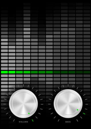 volume knob: Music Party Background - Amplifier Volume and Bass Knobs and Grey Equalizer on Dark Background Illustration