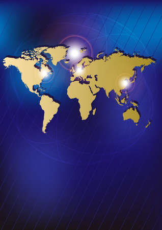 golden globe: Technology Background - Golden World Map on Blue Background Illustration