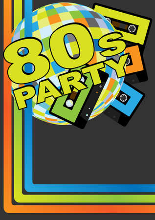 Retro Party Background - Retro Audio Cassette Tapes, Disco Ball and 80s Party Sign Vector
