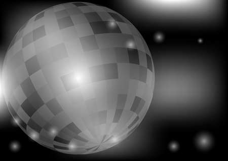 greyscale: Glowing Retro Disco Ball in Night Club on Dark Background