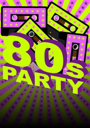 neon party: Retr� partito Background - Casette audiocassetta su sfondo di stelle e strisce