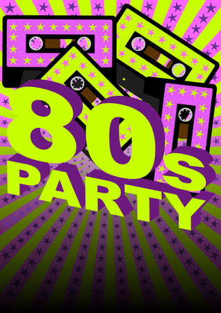 eighties: Retro Party Background - Audio Casette Tape on Strips and Stars Background Illustration