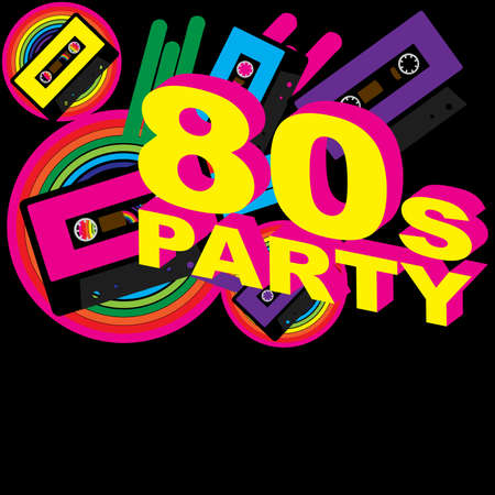 eighties: Retro Party Background - Audio Casette Tape and Disco Sign on Multicolor Background