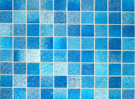 mosaic floor: Blue Tiles in Bathroom With Water Drops