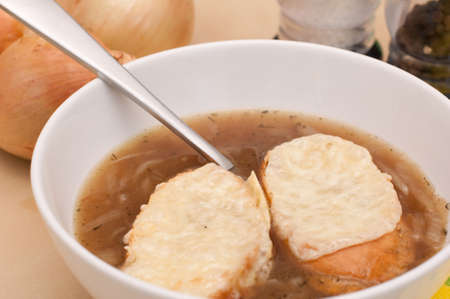 French onion soup with toast and cheese photo