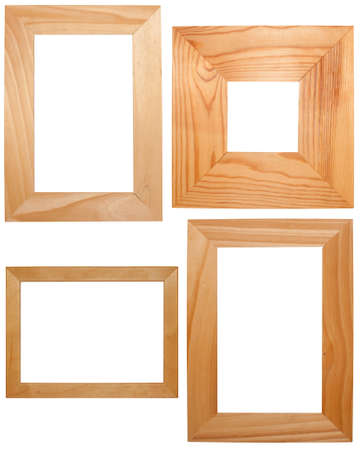 Collection of Wooden Frames Isolated on White Background photo