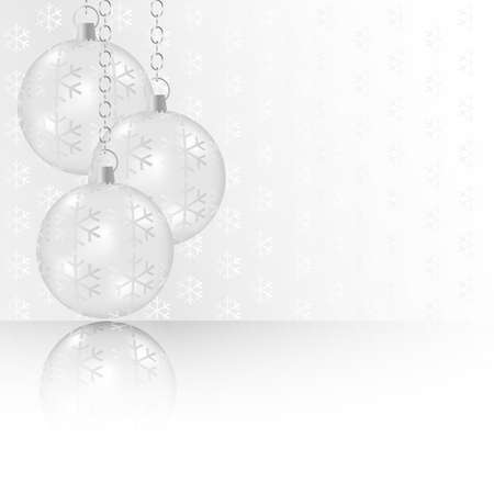 silver background: Christmas Balls on Abstract Silver Background - With Copyspace Illustration