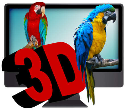 two parrots: 3D Television - Two Ara Parrots and 3D Sign On The Screen - Isolated on White Stock Photo