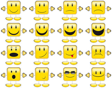 Set of Emoticons - Collection of Yellow Squared Smileys With Hands And Feet Vector