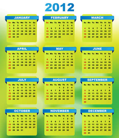 calender design: 2012 Calendar With Abstract Green Background