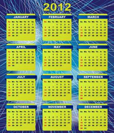 2012 Calendar On Abstract Blue Streaky Background Stock Vector - 10474622