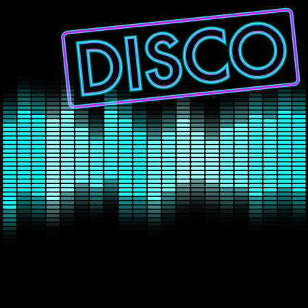 retro disco: Party Background - Neon Disco Sign and Blue Equalizer Illustration
