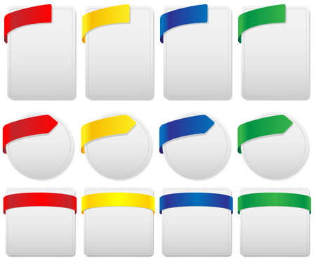 Set of Labels in Different Shapes and Colors Vector