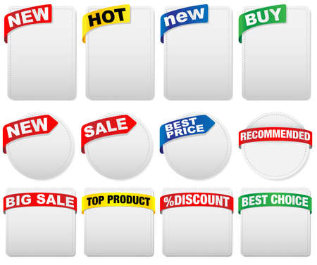 Set of Labels with Sign in Different Shapes and Colors With Various Signs Stock Vector - 10604289