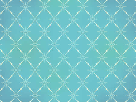 luxury paper: Vintage Wallpaper - Light Ornaments on Turquoise Blue Background