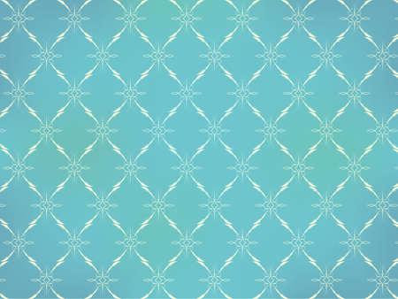 Vintage Wallpaper - Licht Ornamenten op Turquoise Blauwe Achtergrond