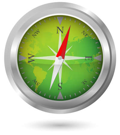 Illustration of Compass Icon With World Map Stock Vector - 10725707
