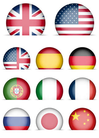 Collection of Flags Icons - Language Buttons - English, American English, Spanish, German, Portugal, Italian, French, Japanese, Russian, Chinese Vector