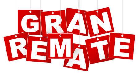 gran: Big Sale  Gran Remate Sign - White Letters on Red Background Illustration