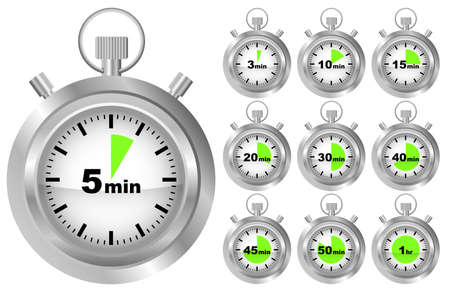 Collection of Stopwatches - Timer in Different Positions  Vector
